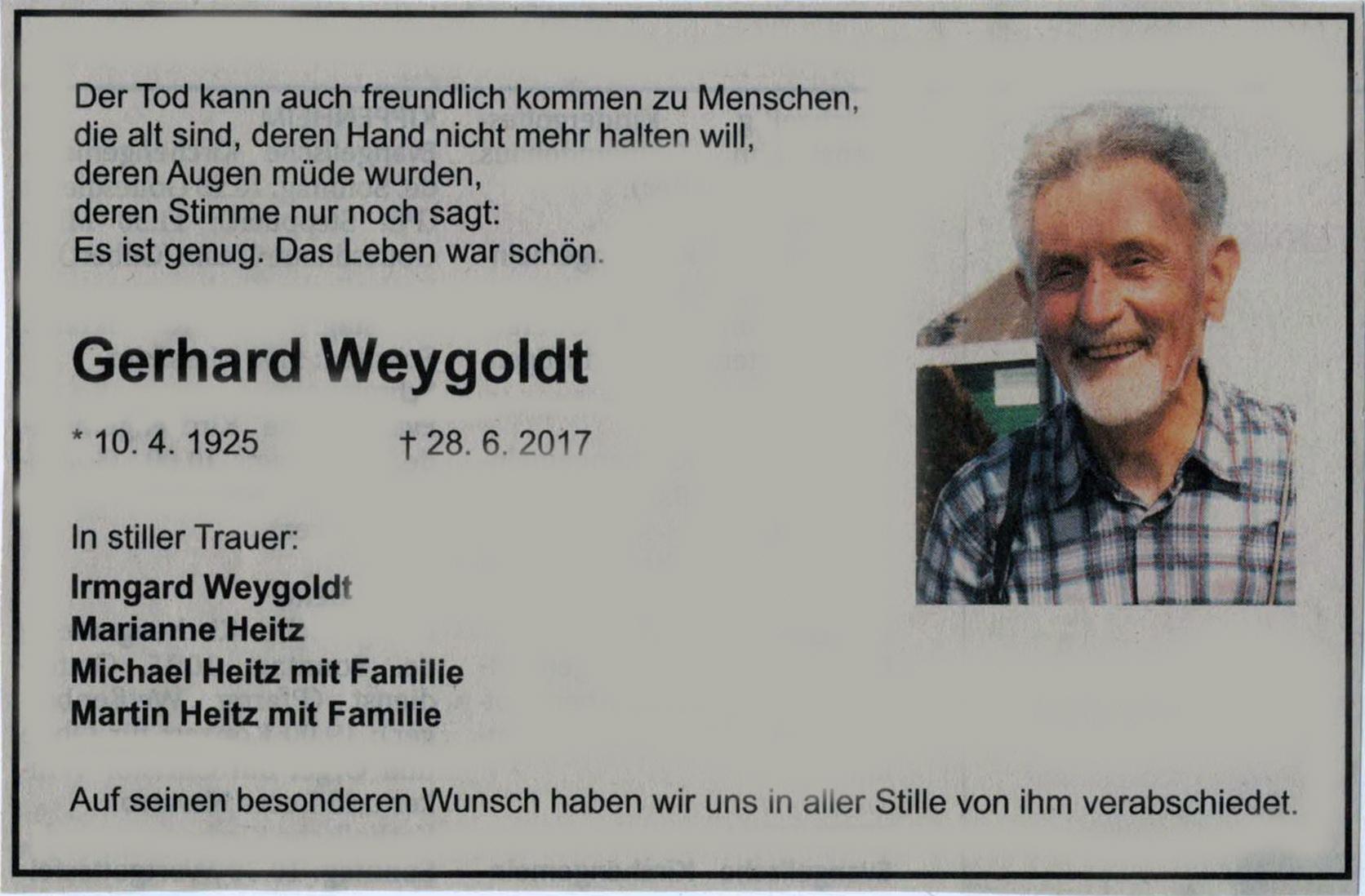 2017-06-28 Gerd Weygoldt Todesnachricht